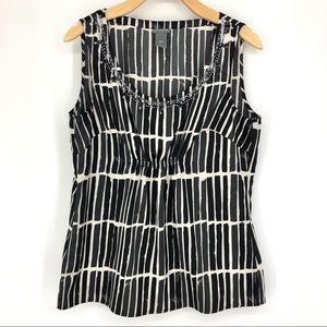 Ann Taylor Black and White Sleeveless Blouse